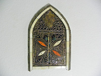 Moroccan Handmade Arched Mirror Henna Bone Arched Mirror with Doors Authentic