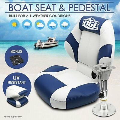NEW Folding and Swivel Base OGL Big Boat Seat Blue/White + Adjustable Pedestal