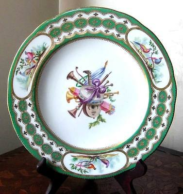 Antique Old Paris Porcelain Plate Exotic Birds Sevres Style Museum Deaccession