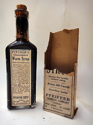 1919 antique PITCHERS CHOCOLATED WORM SYRUP quack medicine BOTTLE +CONTENTS BOX
