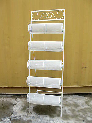 1X White 5-layer Head Band Display Shelving Rack