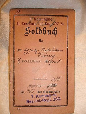 German WW 1 1916 Soldbuch 7.Kompagnie Res.Inf.Regt.260 Luneburg with Koupons