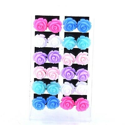 wholeale lots mixed 12pairs Resin color Rose Flower Design stud earrings 12mm