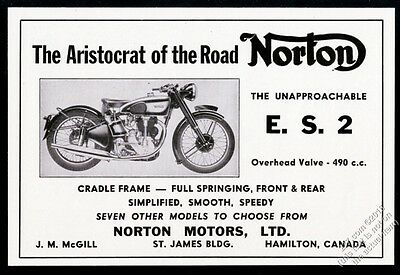 1948 Norton ES2 E.S.2 motorcycle photo vintage print ad
