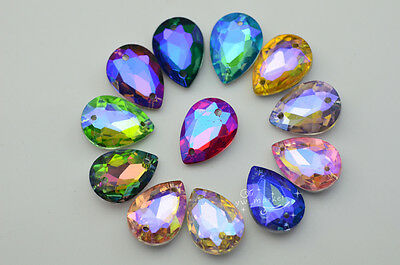 28 PCS 13mm x 18mm Colour AB Glass Faceted Glass Tear Drop Jewels Sew On