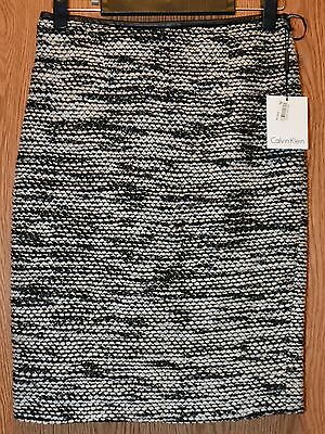 Womens Black White Woven Calivn Klein Flat Front Skirt Size 4 NWT NEW $79