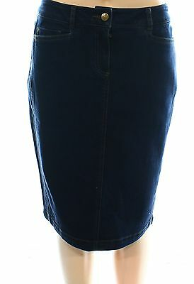 Ellen Tracy NEW Blue Women's Size 2 Straight Pencil Stretch Denim Skirt #460