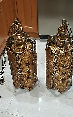 "Pair Of Antique Gothic Brass Church Chandelier 24""ceiling Lamp Light Bar Fixture"