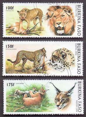 BURKINA FASO (02/1) 1996 Wild Cats Tiger Lion 3 Diff. Stamps ! Gift Children !