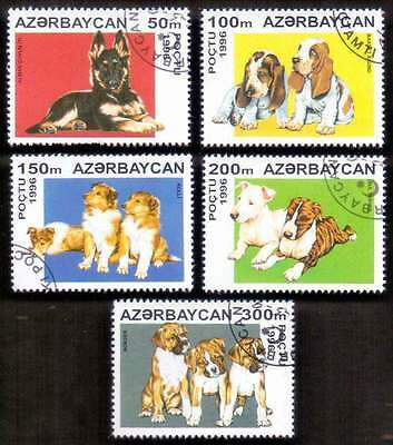 AZERBAIJAN (13/1) 1996 Dogs Animals 5 Diff. Stamps ! Gift Your Children !