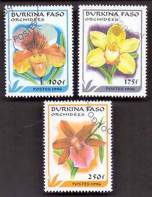 BURKINA FASO (03/1) 1996 Flowers Nature 3 Diff. Stamps ! Gift Your Children !