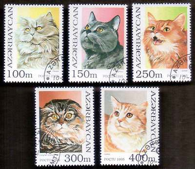 AZERBAIJAN (08/1) 1995 Cats Animals 5 Diff. Stamps ! Gift Your Children !