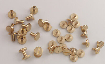 20 Sets of Solid Brass Flat Round Rivet Screw for Leather Craftwork