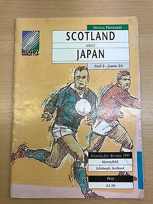 Scotland vs Japan. rugby world cup 1991 programme
