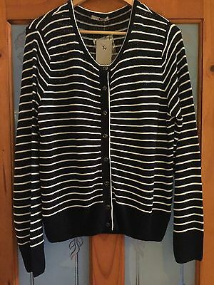 New Tu Navy Blue & White Striped Long Sleeved Button Front Cardigan Size 18
