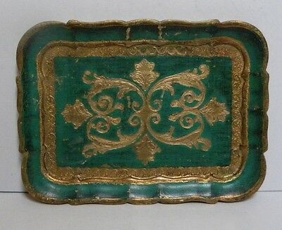 Vintage Small Painted Wooden Tray Italian  Florentine Green And Gold Gilt Carved