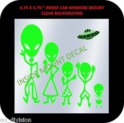 "AREA 51. ALIEN FAMILY. 4.75 X4.75"" window decal"