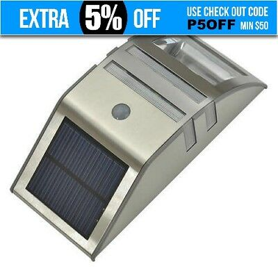 Stainless Steel Solar Power Motion Sensor LED Light Garden Wall Light Path Lamp