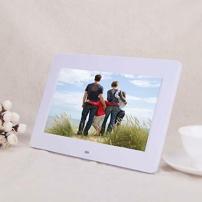 """10.1"""" HD Digital Photo Picture Frame Alarm Clock MP4 Player +Remote White Hot BT"""