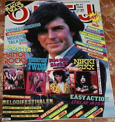 Okej Magazine 1985 Modern Talking+Wasp+Venom+Ultravox+Scorpions+Eurythmics+Helix