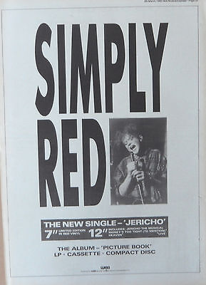 SIMPLY RED : Jericho -Poster Size NEWSPAPER ADVERT- 1986 28cm X 39cm