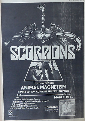 SCORPIONS : Animal Magnetism -Poster Size NEWSPAPER ADVERT- 1980 28cm X 39cm