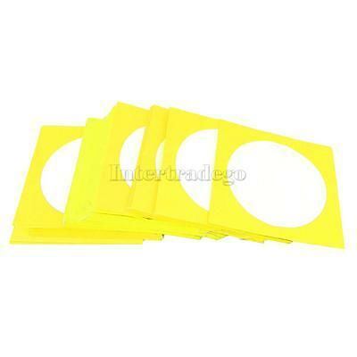 100 High Quality CD DVD Paper Sleeve Case Envelope with Window & Flap Yellow