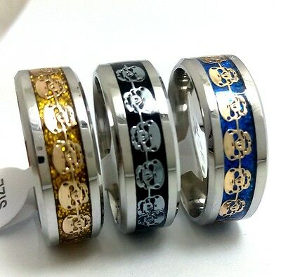 50 mix Skull Gothic Stainless steel men's women fashion rings Punk  wholesale