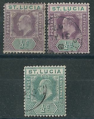 p057) St. Lucia. 1904/10. Used. SG 64,64a,65. Multiple Crown CA. P14