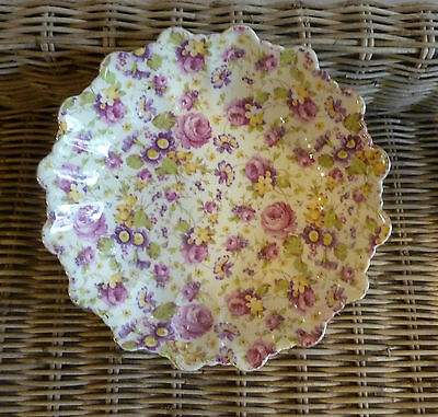 """Vintage James Kent """"RAPTURE"""" All Over Chintz Round Dish  -- Made in England"""