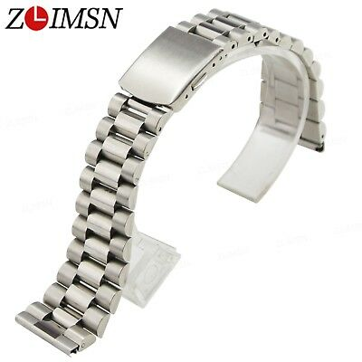 Pure Solid Stainless Steel Straight End Watch Band Bracelet Link Strap 16 - 20mm