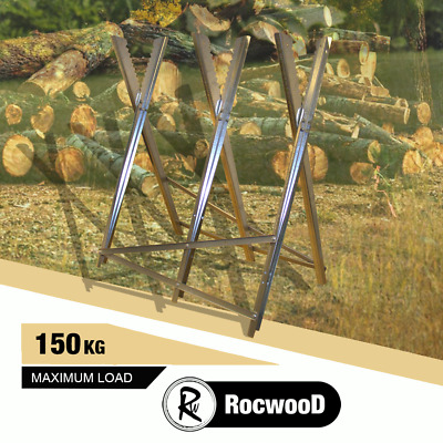 Heavy Duty Metal Saw Horse Sawhorse, Chainsaw Cutting Logs For Wood Burners