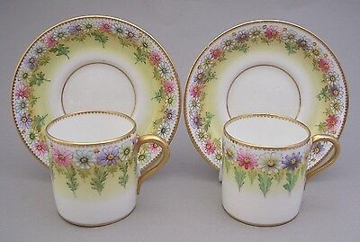 Two Paragon - Star China - Coffee Cans And Saucers - Hand Painted - C. 1910