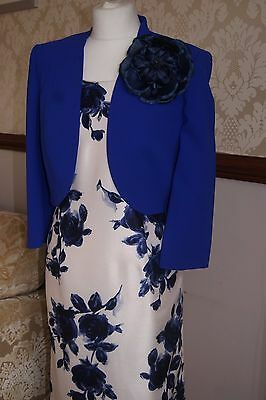Jacques Vert Dress Jacket Cream Sapphire Blue Outfit Mother of Bride BNWT 12