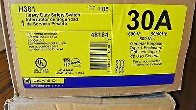 Square D 30 Amp 600VAC Single Throw Safety Switch 3P, H361