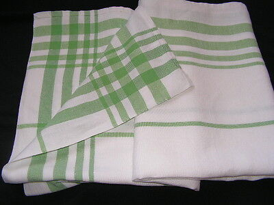 Beautiful Vtg 1940's/50's Qualty White Irish Linen Tablecloth With Green Stripes