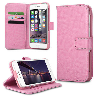 """For iPhone 6 6S 4.7"""" PU Leather Card Holder Flip Stand Wallet Case Cover Pink"""