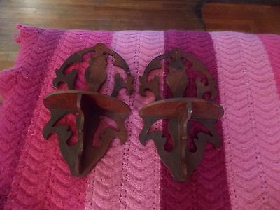 Antique Pair Carved Wood Shelves 12 inches tall