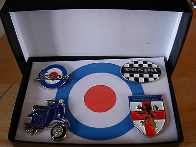 Vespa boxed pin badge set. V1 Four badges. Scooter Shield Check Oval roundel Mod