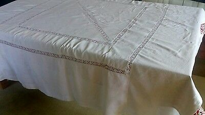 Vintage Linen Tablecloth with Crochet Lace Inserts 80 x 82 inches