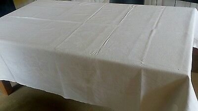 Large Vintage White Tablecloth in a Cotton Weave 72 x 94 inches