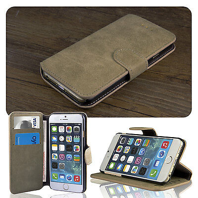 For iPhone 6 6S Luxury Scrub Leather Wallet Card Holder Flip Stand Case Brown
