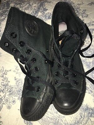 CONVERSE ALL STARR GIRLS BOY BLACK CANVAS TRAINERS Size Uk 3