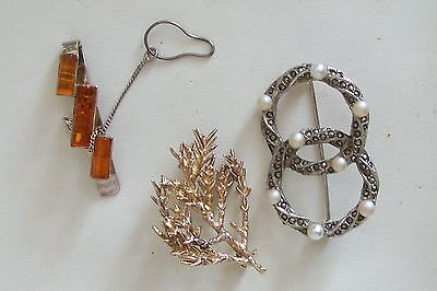 Collection 3 Silver Danish Brooches Inc Flora Danica