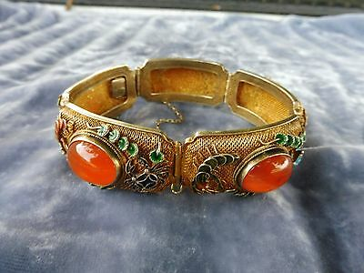 Antique Chinese Gold Gilt Silver Carnelian Bracelet Hallmarked