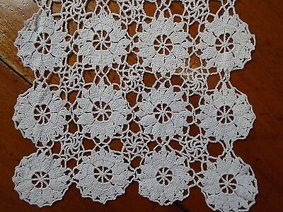 Vintage Hand Crochet Lace White Cotton Table Runner Cloth