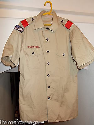 Youth EXTRA LARGE Tan Official BSA BOY SCOUT Uniform SHIRT XL w/Red Loops USA