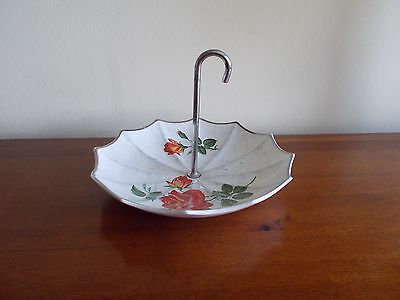 """VINTAGE 1960's MIDWINTER """"UMBRELLA"""" SHAPED DISH DECORATED WITH ROSES - G. COND"""