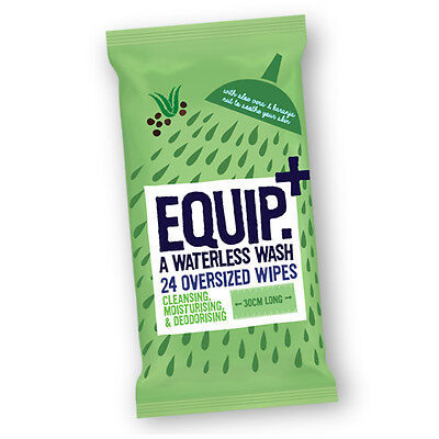 Pk 24 Waterless Wash Oversized Wipes for Camping, Festivals, Backpacking (B-104)