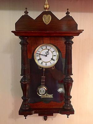 Victorian Wall Clock In Mahogany Case 30 Days Wind Up Strikes Hour And Half Hour